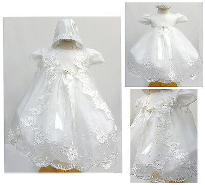 Baby Girl White Gown Christening Baptism Dress Size 0-6, 6-12, 12-18, 18-24, 30M
