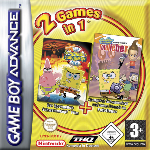 2 Games in 1 SpongeBob im Fotofieber + SpongeBob Der Film Nintendo Game Boy gebr