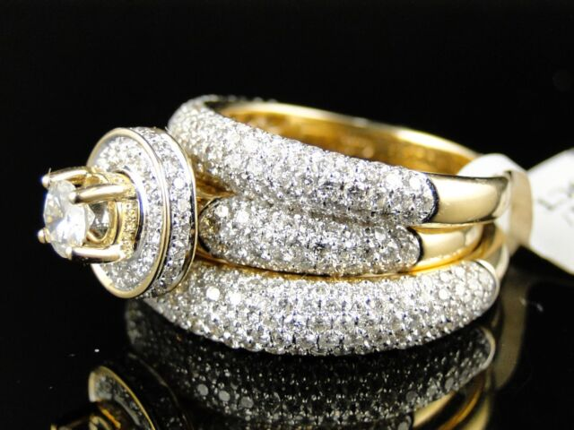 14K Mens/Ladies Round Cut Pave Set Diamond Bridal Engagement Ring Trio Set