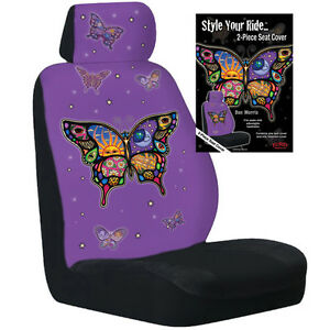 2 new honda civic accord crv fit celestial butterfly bucket seat covers car suv ebay. Black Bedroom Furniture Sets. Home Design Ideas
