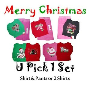 Christmas shirt pants girls santa holiday 2 pc outfit set top bottoms