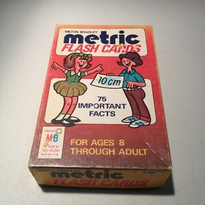 METRIC FLASH CARDS - VINTAGE MILTON BRADLEY - 1977 - ORIGINAL CARDBOARD BOX MB