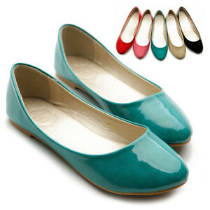 NEW-Womens-Shoes-Ballet-Flats-Loafers-Basic-Light-Low-Heels-Enamel-Multi-Colored