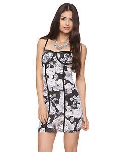 Forever 21 floral corset bodycon flower dress gray white black size l