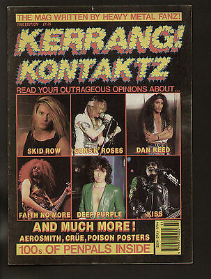 KERRANG! KONTAKTZ 1990 POISON SKID ROW DEEP PURPLE EUROPE AEROSMITH KISS GUNS N'