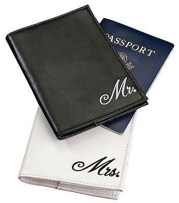 Mr & Mrs Passport Case Holder Cover Destination Wedding Honeymoon Gift - Pair