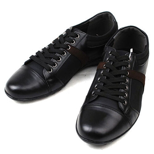56b8ecd6215154 New Mens Classic Style Casual Lace Up Sneakers Shoes Black