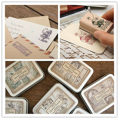 Alice Adventures in Wonderland Wizard of  Dorothy Wooden Rubber Stamp Box Set
