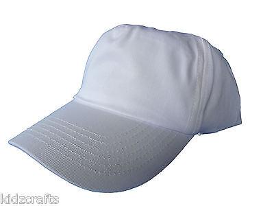 WHITE CAP Childrens Kids Beechfield Baseball Cotton Boys Girls Unisex One Size