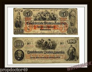 Civil-War-Period-Confederate-States-Money-Reproduction-100-amp-5-Bills-11x14