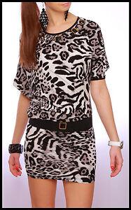 Amazing Tunic Animal Print Dress Asimetric Opal Details Cotton Belt FREE RO01HQ
