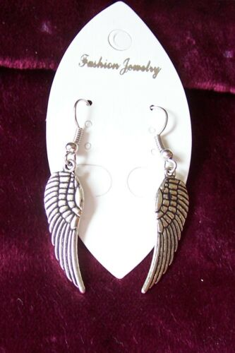 GUARDIAN ANGEL WING EARRINGS GOLDTONE OR SILVERTONE small and medium