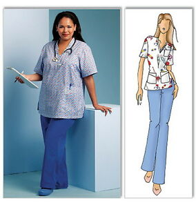 easy misses scrub top pants connie crawford sewing pattern xxl 1x