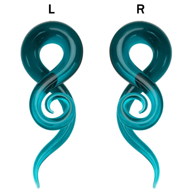 Ear Taper Glass Handmade Twisted Solid Turquoise Color