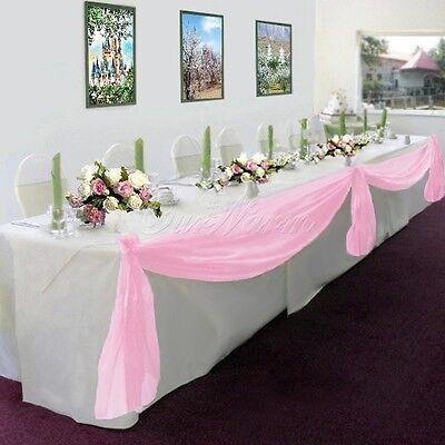 5M*1.35M Sheer Organza Swag DIY Fabric Wedding Top Table Decor Stair Bow Valance