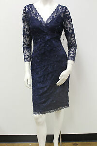 Beaded-3-4-Sleeve-Lace-Tiers-Evening-Cocktail-Special-Occasion-Dress