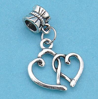 8pcS Tibetan silver dangle pendant double heartbeaded fit charm bracelet JP979