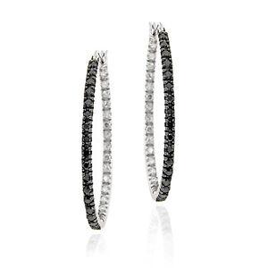 925-Silver-Black-Diamond-Accent-Oval-Hoop-Earrings
