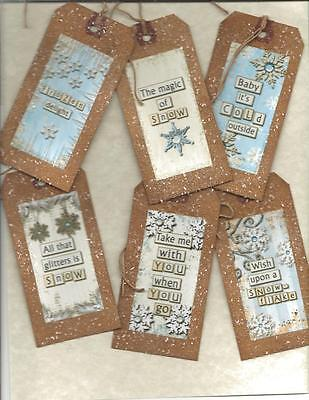 12 PRIMITIVE TAGS~Let there be snow !~HANG TAGS~folk~Grungy