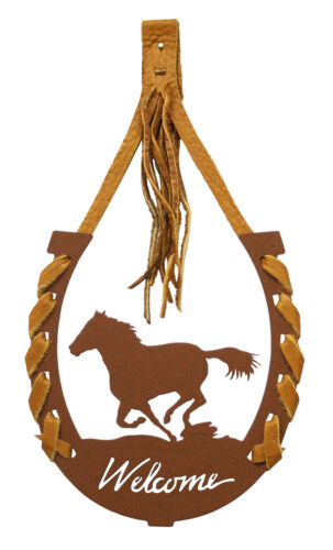 Running Horse Horseshoe Welcome Sign Leather Lace Rust