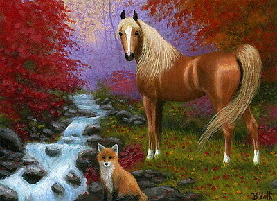Arabian horse red fox fall autumn creek forest limited edition aceo print art