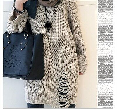 Stylish destroyed loose knit jacket dress sweater