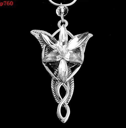 JT12 Retro ARWEN'S EVENSTAR NECKLACE LORD OF THE RINGS SILVER pendant