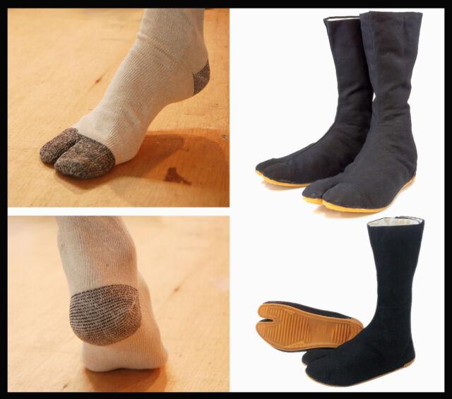Black Tabi Ninja Martial Art Shoes Jikatabi Boots & 6 Pairs Flip Flop Socks Set!