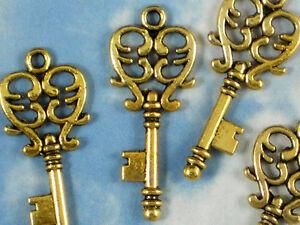 500 Gold Keys Heart Skeleton Scroll Charms Wholesale Bulk Key #P1052 -500
