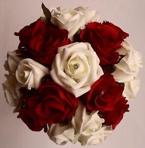 Ivory-Red-Rose-Flower-Brides-Bridesmaids-Wedding-Diamante-Crystal-Bouquet-Posy