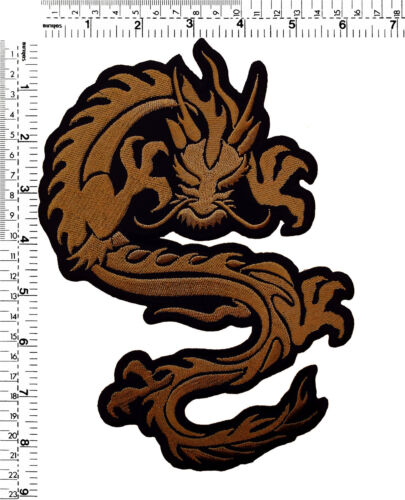 """#395IR Large Tribal Dragon Biker Embroidered Sew Iron on Patch Badge 8.5/""""Tall"""