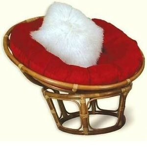 New single rattan wicker pier papason lobster moon lounge chair red cushion ebay - Pier one lounge chairs ...