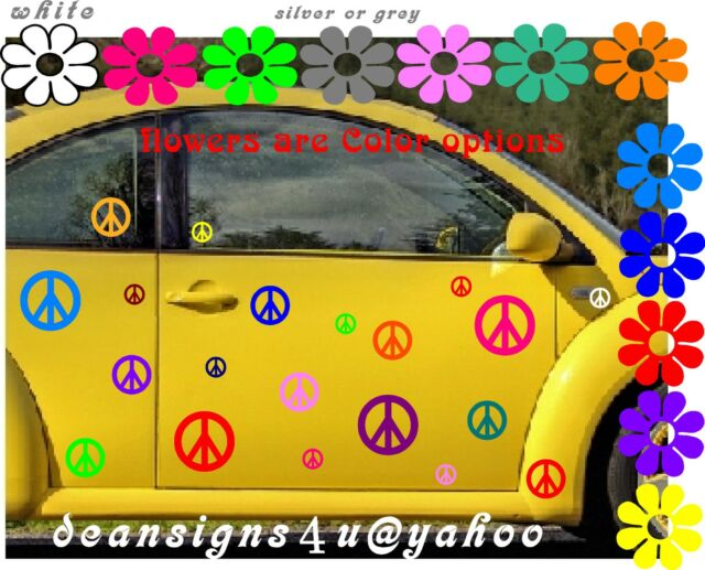 25 peace sign SET Car Any Auto volkswagen tail light Bright Rainbow VW bug USA