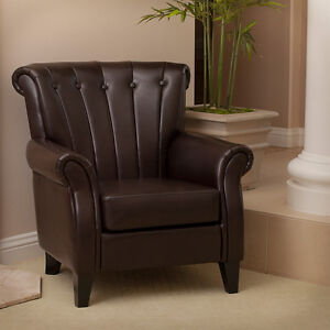 elegant design luxury brown leather club chair with tufted