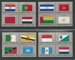 UNITED NATIONS, NEW YORK # 554-569 MNH 1989 FLAGS, SETENANT BLOCKS