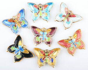 30-Pcs-Mix-Cloisonne-very-beautiful-butterfly-Charms-pendant-Beads-20-15mm-CL94