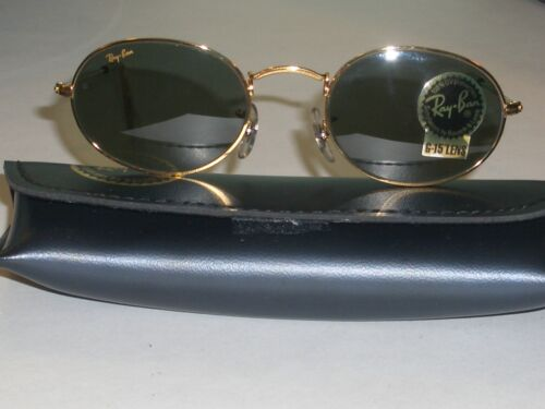 VINTAGE B&L RAY BAN W0976 G15 GOLD PLATED WIRE OVAL AVIATOR SUNGLASSES w/CASE