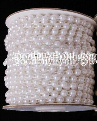 5 Meters Pure / Ivory White Pearl Garland Wedding Centerpiece Decoration 4mm/6mm