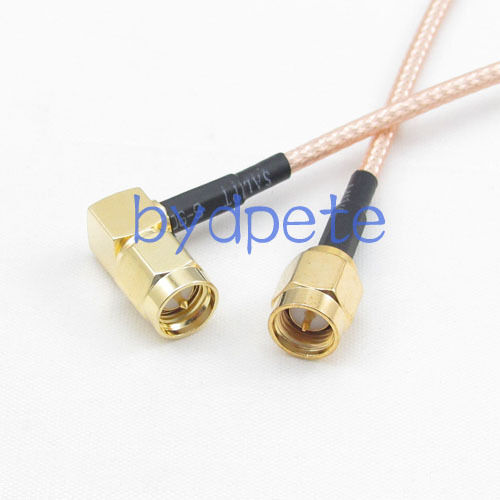 1pc Right Angle SMA Male to Male Plug Jumper Pigtail Cable RG316 30CM Quick USA