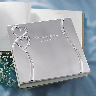 Sparkling Love Double Heart Guest Book + Option to Personalize | Engrave