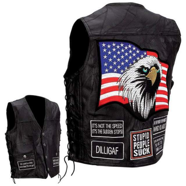 Leather Concealed Carry Motorcycle Vest, w/USA Patches NEW