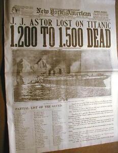 1912-newspaper-TITANIC-SINKS-w-Best-Headline-amp-photo