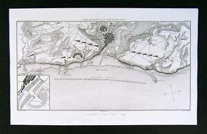 1859 Dufour Map - Boulogne Plan - France Napoleon Fleet