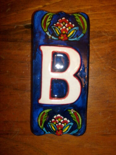 "LETTERS A-Z Handmade Hand painted 2-1//2/"" x 5-1//2/"" CERAMIC TILE Flower design"