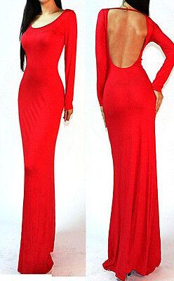 Sexy Long Sleeves Backless Open Cutout Back Slip Jersey Long Maxi Dress S M L