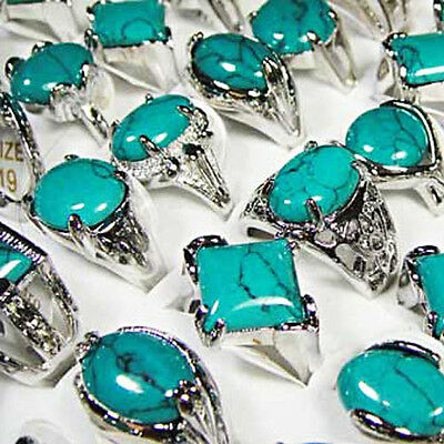 10pcs Green turquoise silver-plated rings wholesale jewelry women free shipping