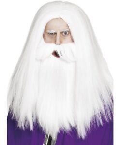 Hombre-Mago-o-Mago-Disfraz-Peluca-y-Barba-Set-Blanco-Nuevo-por-Smiffys