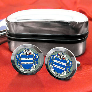 Coat-of-Arms-Family-Crest-Any-Surname-Cufflinks-Gift