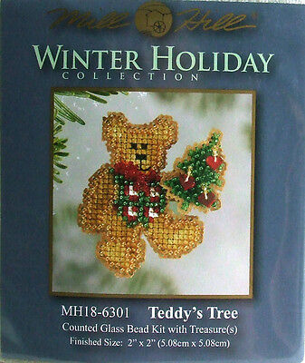 Mill Hill Counted Cross Stitch Bead Kit 'Teddy's Tree' Christmas Pin 18-6301