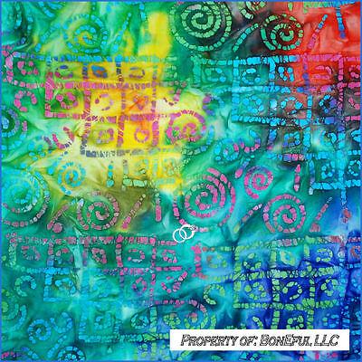 BonEful FABRIC FQ Cotton Quilt BATIK Rainbow XO Swirl Love Red Blue Green Yellow